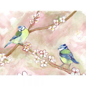 SG1549 birds bluetits blue green pink tree blossom branch watercolour painting animal