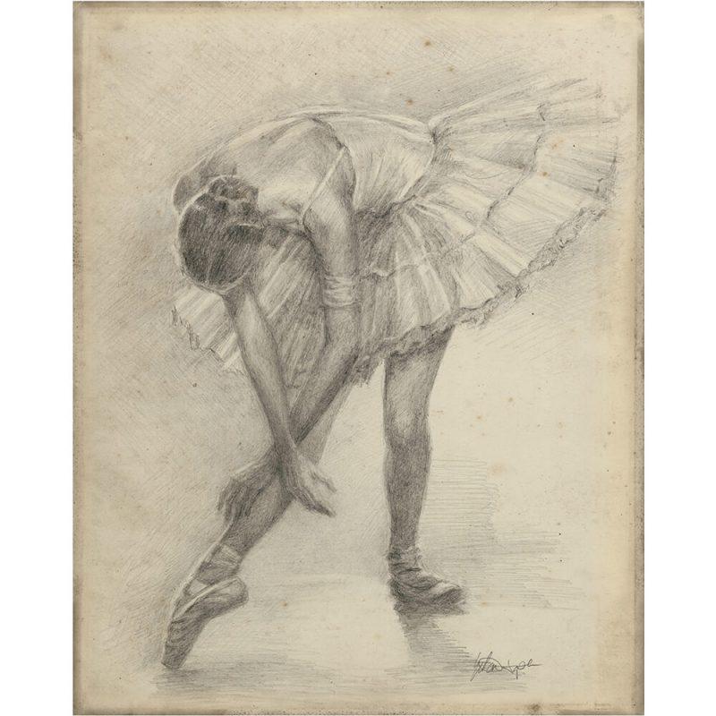SG1553 antique ballerina study II sketch pencil still life dancer tutu