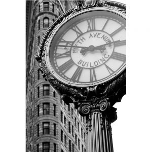 SG1573 city details III clock fifth avenue clock building town black and white