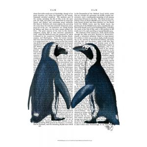 SG1620 penguins in love animal text writing book novel typography