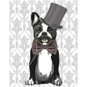SG1621 monsieur bulldog dogs whimsical top hat bowtie gentleman painting illustration monocle