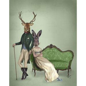 SG1622 deer stag doe rabbit bunny hare victorian vintage illustration