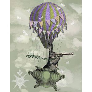 SG1623 bunny rabbit hare telescope hot air balloon bunting crockery butterflies green purple cloud ivy illustration