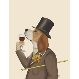 SG1629 beagle wine snob hound dog quirky whimsical animals