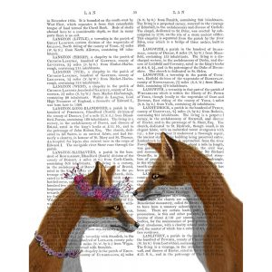 SG1631 fox couple flowers writing story book novel typography