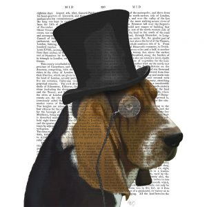 SG1638 basset hound formal hound hat schnauzer dog top hat monocle watercolour novel type writing typography funny whimsical