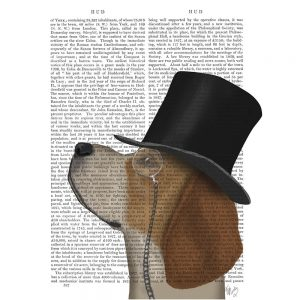 SG1640 beagle formal hound schnauzer dog top hat monocle watercolour novel type writing typography funny whimsical