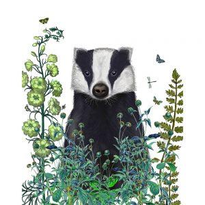SG1645 badger nature animal wild flora floral botanical writing novel book typography butterflies