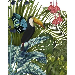 SG1646 toucan in tropical forest bird tropical palm trees nature floral flower