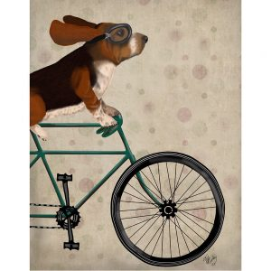 SG1650 basset hound on bicycle dog whimsical quirky painted illustration bike