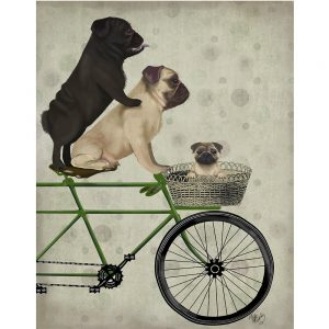 SG1651 pugs on bicycle dogs whimsical quirky painted illustration bike