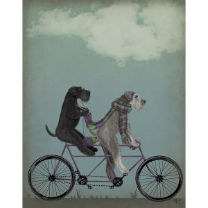SG1652 schnauzer tandem dogs whimsical quirky painted illustration bike bicycle