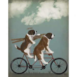 SG1653 st bernard tandem schnauzer dogs whimsical quirky painted illustration bike bicycle