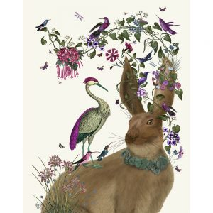 SG1654 hare rabbit bunny birds pink vines floral flowers green nature wild animal
