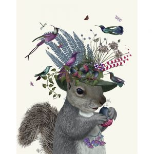 SG1655 birds pink vines floral flowers green nature wild animal squirrel purple blue hat quirky whimsical