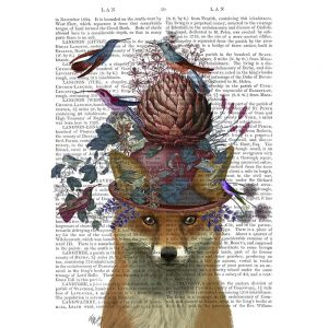 SG1657 fox red nature animal wild flora floral botanical writing novel book typography butterflies