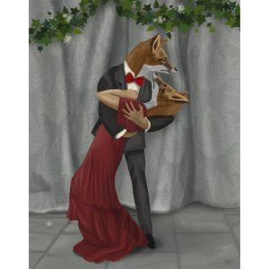 SG1660 fox couple dance dancing illustraton quirky whimsical