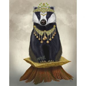 SG1662 badger tiara jewels pearls jewellery feminine nature wild forest lady painting illustration quirky whimsical