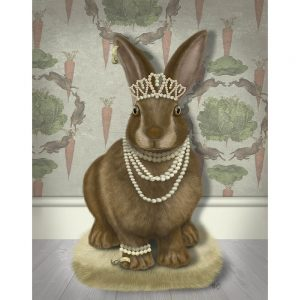 SG1663 rabbit bunny hare tiara jewels pearls jewellery feminine nature wild forest lady painting illustration quirky whimsical