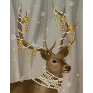 SG1664 deer stag doe tiara jewels pearls jewellery feminine nature wild forest lady painting illustration quirky whimsical