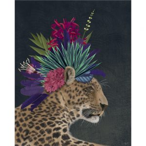 SG1666 hot house leopard wild floral crown cat big spots flowers bright nature animal