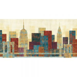 SG1680 city skyline cityscape buildings abstract architecture bridge brooklyn distressed paint