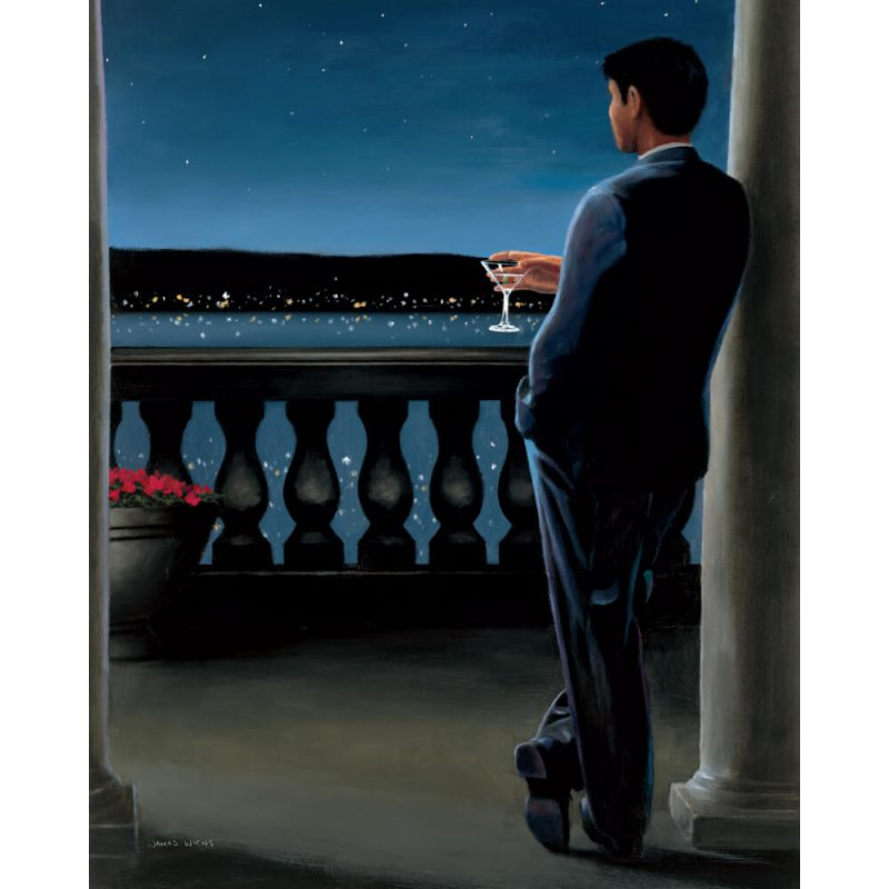 SG1687 man men boy male suit drink blacony night sky classic formal paint painting