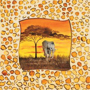 SG1706 serengeti evening african africa yellow elephant paint painting