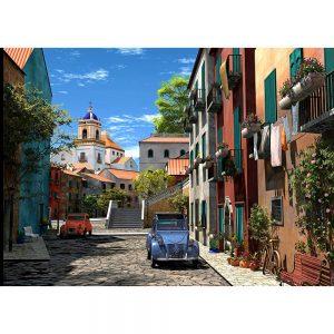 SG1727 mediterranean morning town village cars street landscapes