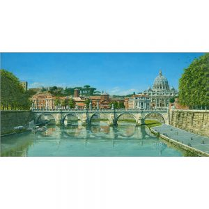 SG1735 fiume tevere roma italy bridge cityscape reflection town trees painting landscapes
