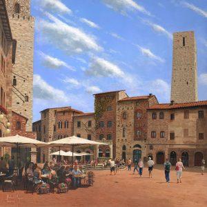 SG1738 piazza della cisterna san gimignano tuscany town village buildings people walking