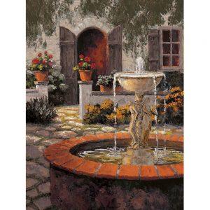 SG1782 garden courtyard red brick fountain water cottage