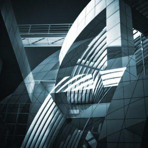 TM1157 modern architecture building blue