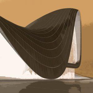 TM1172 modern architecture roof brown invert