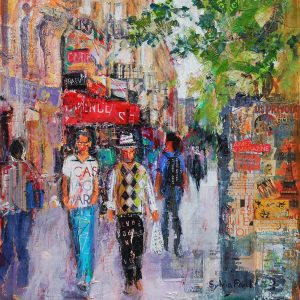 SG1904 france paris buildings city colourful lively painting people shoppers town vibrant