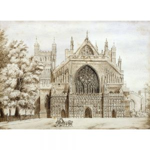 SG1914 arcading architecture ecclesiastical gardens gothic rose window exeter cathedral england school