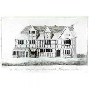 SG1920 half timbered print shakespear birthplace house illustration drawing statford england english