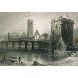 SG1926 arch architecture bridge gothic monastery river ruin tower irish ireland clare abby county clare