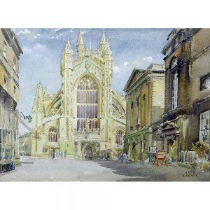 SG1928 architecture facade perpendicular gothic bath abby english england street watercolour paint illustration