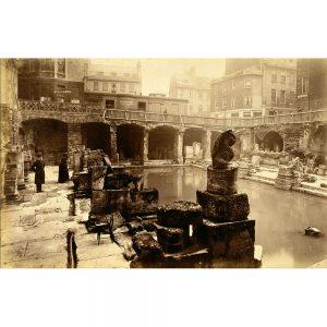 SG1931 ancient attraction baths classical architecture excavations ruins spa victorian roman bath