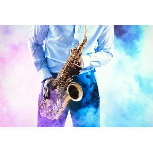 SG2151 african american jazz musician playing saxophone smoky background