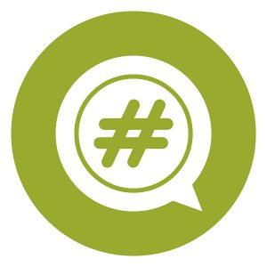 SG2183 green circle hashtag speech bubble infographics