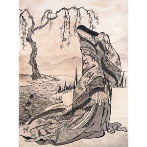 SG628 traditonal drawing illustration river japanese tree geisha