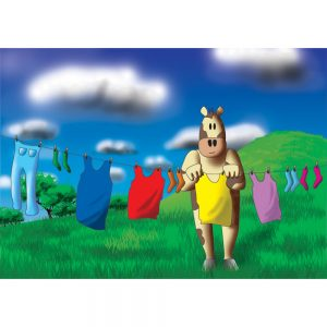 SG646 cow cartoon washing clothes