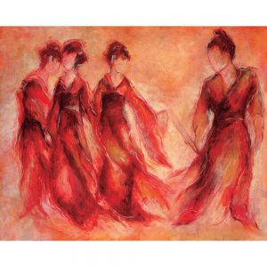 SG719 abstract female women figures red dresses