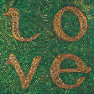 SG733 irish ireland celtic knot texture green gold paint love