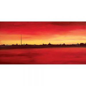 SG740 dublin irish ireland cityscape skyline red yellow maroon