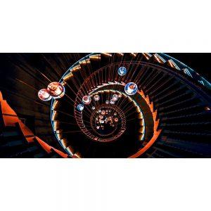 TM1271 architecture spiral staircase lights orange