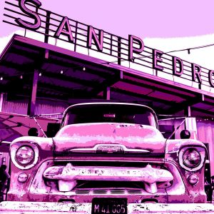 TM1305 automotive american cars chevvy pink