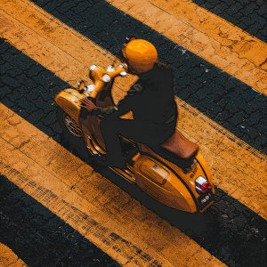 TM1475 automotive scooters yellow stripes